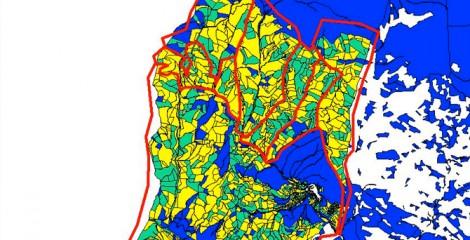 Detalle de unidades o macizos creados y parcelas catastrales en su interior. Uztárroz 2010