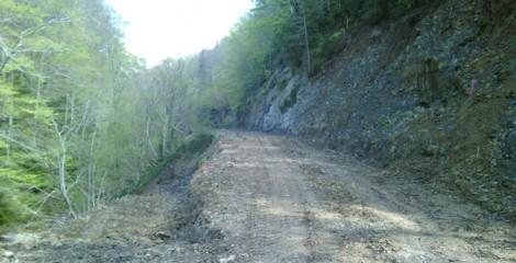 Estado previo vial a estabilizar terraplén con escollera hormigonada. Espartza 2014